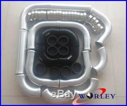 2.5 64mm aluminum universal Intercooler Turbo Piping pipe & Black silicone hose
