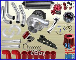 Bmw E46 323 325 328 330 T3/t4 Turbocharger Turbo Kit Red+manifold+bov+wg+gauge